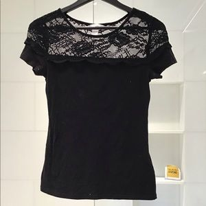 H&M Black Lace short sleeve T-shirt size Small